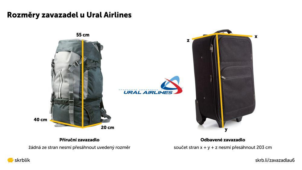 Příruční / kabinová / palubní zavazadla u Ural Airlines 2021