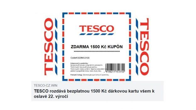 Slevový kupón Tesco je podvod, místo poukázky čekejte vysoký účet za telefon