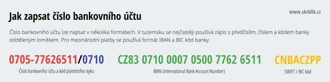 Číslo bankovního účtu - kód banky, SWIFT, BIC kód, IBAN
