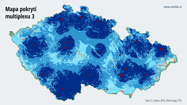 Mapa pokrytí multiplexu 3