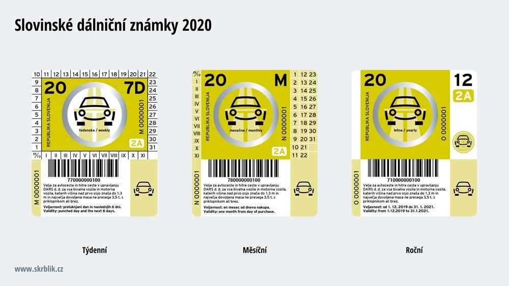 Dálniční známky Slovinsko 2017