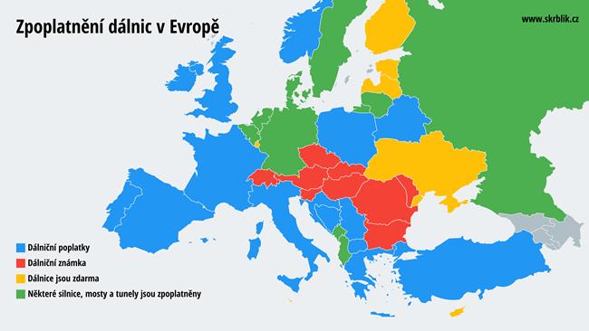 Zpoplatnění dálnic v Evropě