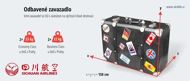 Odbavená (zapsaná) zavazadla u Sichuan Airlines 2020