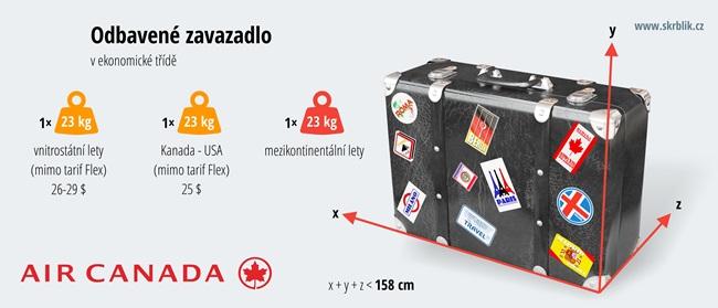 Odbavená (zapsaná) zavazadla u Air Canada 2017