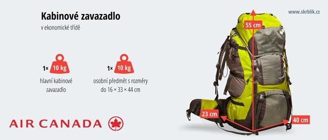 Příruční / kabinová / palubní zavazadla u Air Canada 2017