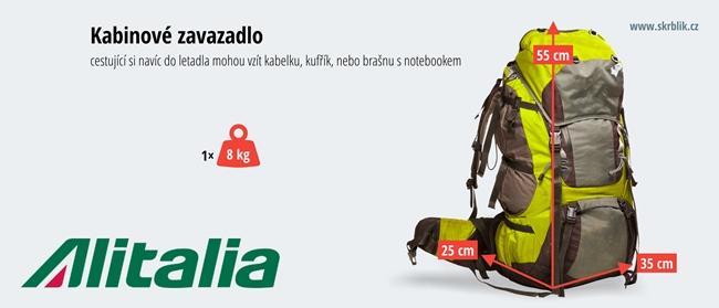 Příruční / kabinová / palubní zavazadla u Alitalie 2020