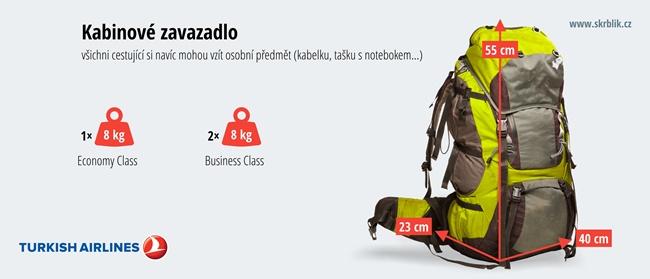 Příruční / kabinová / palubní zavazadla u Turkish Airlines 2020