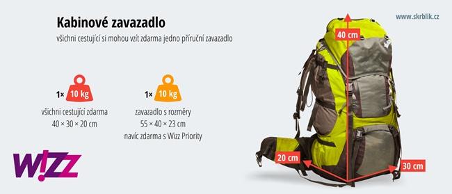 Příruční / kabinová / palubní zavazadla u Wizz Air 2020